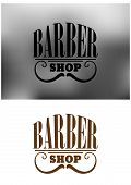 Retro barber shop emblem with mustache