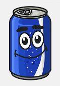 Blue cartoon soda or soft drink can