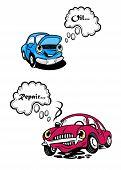 Two cartoon car characters