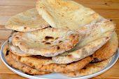 Coriander and garlic Naan bread.