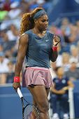 Sixteen times Grand Slam champion Serena Williams during doubles match at US Open 2013