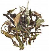 Bai Mu Dan (White Peony) chinese white tea close up macro shot, surface top view isolated on white b