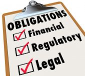 Obligations words on a clipboard checklist with marks in boxes for Financial, Regulatory and Legal w