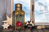 Nostalgic Old Christmas Decoration With Old Toys And A Old Lantern With Candles.
