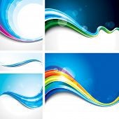 Collection of abstract wave design background. Raster.