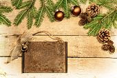 Wooden Background With Christmas Deco