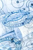 Technical drawings in a blue toning