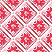 Seamless Ukrainian, Slavic folk art red embroidery pattern