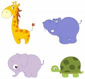image of baby animal  - Illustration Set of cute animals - JPG
