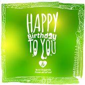 Sketch Drawing Green Birthday Card