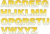 pic of frazzled  - Stylized cartoon alphabet using all capitals with colorful yellow vignette - JPG