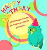 Vector birthday card with funny little bird in cartoon style on colorful background