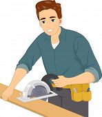 Illustration of a Man Using a Circular Saw