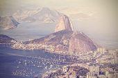 Vintage Aerial View Of Rio De Janeiro, Brazil