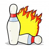 cartoon flaming ten pin bowling skittles