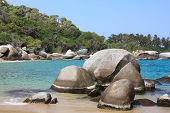 Caribbean Beach With Tropical Forest. Tayrona National Park. Colombia