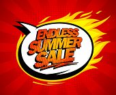 Endless summer sale pop-art design with fiery speech bubble.
