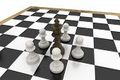 Black king surrounded by white pawns on white background