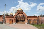 Alexander Nevsky Cathedral (church) in Novosibirsk, Russia in May