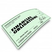 Financial Obligations words on a check as payment to creditors for bills due