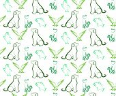 foto of bird-dog  - Dog Cat Bird and Fish Seamless Pattern Background - JPG