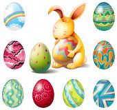 Illustration of a group of Easter eggs and a sweet bunny on a white background