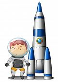 Illustration of a boy beside the rocket on a white background