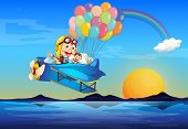 Illustration of a plane with monkeys and balloons