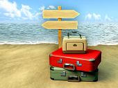Some luggages and a tourist sign on a sunny beach. Digital illustration.