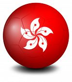 Illustration of a soccer ball with the HongKong flag on a white background