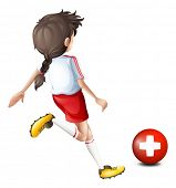 Illustration of a female soccer player from Switzerland on a white background
