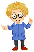 Illustration of a kid wearing glasses on a white background