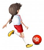 Illustration of a player using the ball from HongKong on a white background