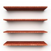 Empty brick shelves isolated on clean white background.