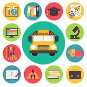 Back to school, bus and supplies vector icons set, flat design illustration.