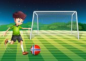Illustration of a young boy kicking the ball with the flag of Norway