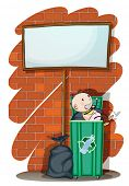 Illustration of a baby inside the trashcan below an empty signboard on a white background