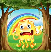 Illustration of an angry monster at the jungle