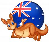 Illustration of a kangaroo in front of the ball with the Australian flag on a white background