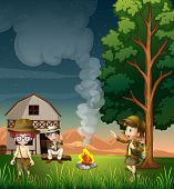 Illustration of the kids near the campfire