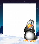 Illustration of an empty template with a penguin
