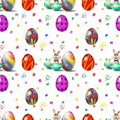 Illustration of an Easter Sunday seamless design on a white background