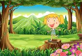 Illustration of a stump with a cute little girl