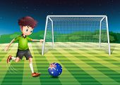 Illustration of a boy kicking the soccer ball at the field with the flag of Australia