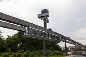 Public Transportation System Sky-train Hanging From Elevated Guideway Beam On Columns In Dusseldorf,