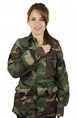 Happy teenage young girl wearing green military jacket