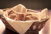 Homemade Scones In A Wicker Basket