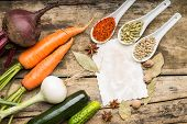 Blank Paper With Fresh Vegetables And Various Of Spices On Wood Background