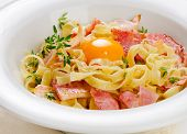 stock photo of carbonara  - Pasta Carbonara on a white plate - JPG