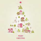 Christmas Card with Christmas Houses  - for design and scrapbook - in vector